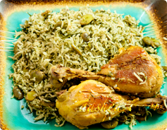 Baghali Polo with Chicken
