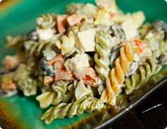 pasta chicken salad, macaroni and chicken salad