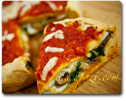 Stuffed pizza (spinach and mushroom) recipe