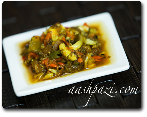 Torshi liteh recipe, tursu, pickled vegetables