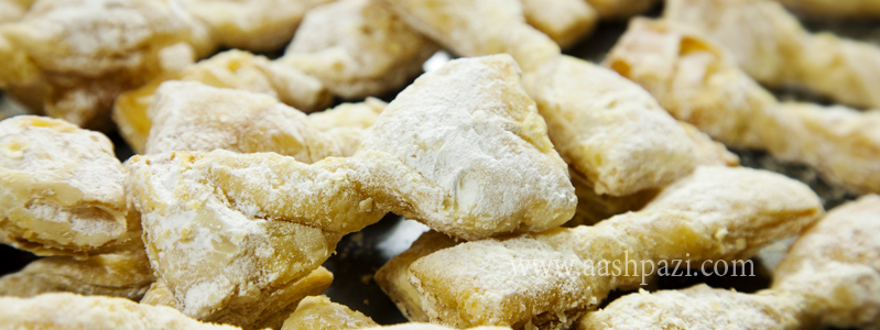 Bow tie pastry or shirini e papioni calories, nutritional values,