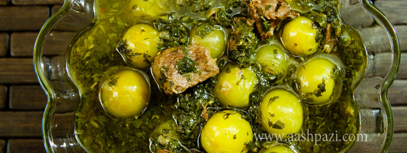 Green plums stew, khoresht goje sabz calories, nutritional values,