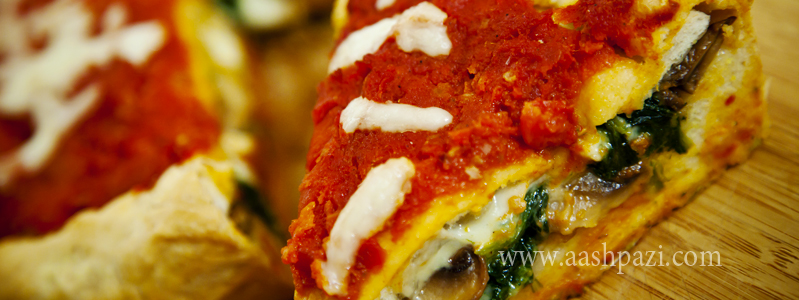 Stuffed pizza spinach mushroom mozzarella calories, nutritional values,