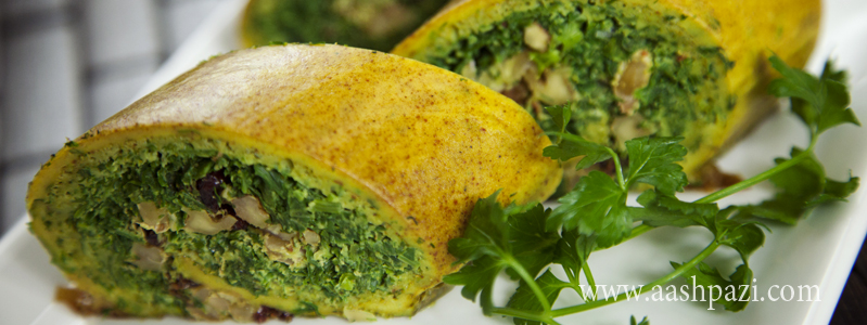 Vegetable Roll Up (Kookoo Sabzi Roll Up) calories, nutritional values,